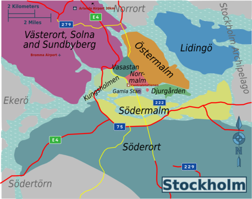 Stockholm Travel guide at Wikivoyage – Stockholm Tourist Map