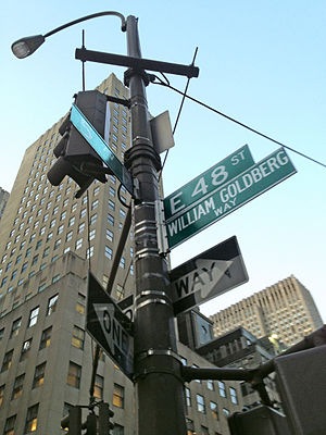 "William Goldberg (diamond dealer) - The corner of 5th Avenue and 48th Street in Manhattan, designated by the City of New York as ""William Goldberg Way"""