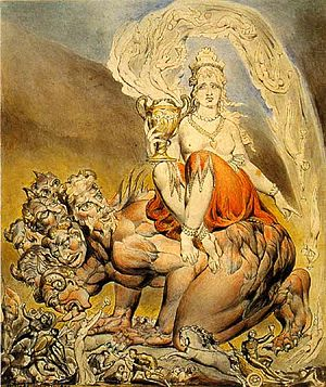 Babalon - Whore of Babylon. Painted by Gnostic Saint William Blake in 1809.