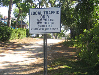 Windermere, Florida - Through traffic is banned from using this street to bypass congestion during rush hours.