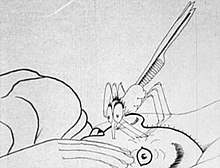 A black-and-white film still. A giant mosquito plunges its proboscis into the side of a man's head. The man is lying down in bed, and has a horrified look in his open eye.