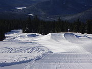 This terrain park begins with three jumps, each with a variety of entries.