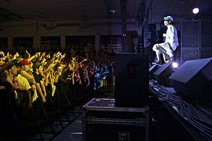 Wiz Khalifa performing at Colby College on May...