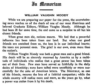 William Vaughn Moody - Tribute to W.V. Moody in The Harvard Monthly Vol 51 (1910)