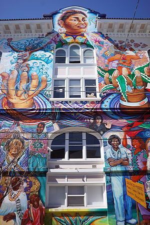 The Women's Building - Part of the mural on the side of the building, in 2015