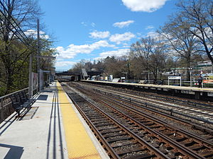 Woodlawn (Metro-North station) - Woodlawn station in April 2015 from the outbound platform.