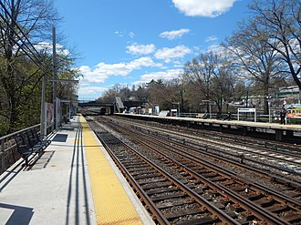 Woodlawn station (Metro-North) - Woodlawn station in April 2015 from the outbound platform.