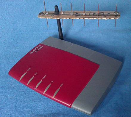 Yagi-Uda antennas, widely used for television reception, are relatively compact at Wi-Fi wavelengths Yagi-Uda antenna for Wi-Fi on Router.jpg