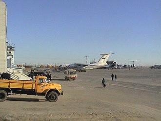 Yakutsk Airport - Ilyushin Il-76 parked at Yakutsk Airport.