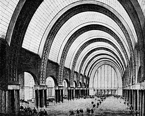 Ivan Fomin - Kursky rail terminal, main concourse - contest entry, 1933