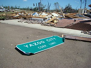 Yazoo City, Mississippi - Yazoo City sign after April 24, 2010 tornado