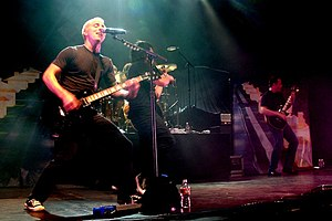 Yellowcard performing in October 2007 in support of their album Paper Walls.}