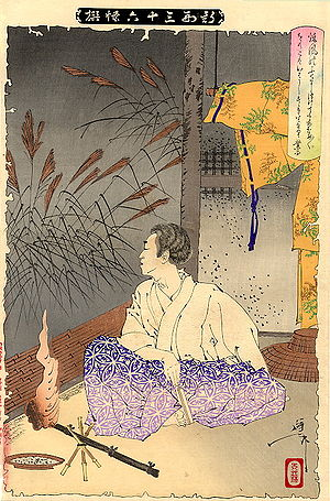 Ariwara no Narihira - Ariwara no Narihira looking for the ghost of Ono no Komachi, in an 1891 print by Yoshitoshi