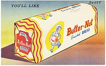 Postcard advertisement with a painted, wrapped loaf of bread