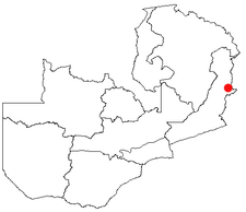 Location of Lundazi in Zambia
