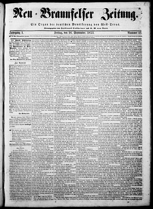 New Braunfels, Texas - Front page of the Neu-Braunfelser Zeitung on September 16, 1853