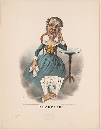"Euchre - ""Euchered""; lithograph (1884) from the Library of Congress"