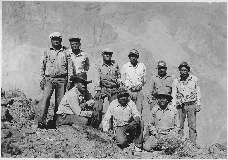 "File:""Indians employed on the construction of Hoover Dam as high-scalers. This group includes one Yaqui, one Crow, one... - NARA - 293745.jpg"
