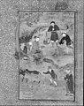 """Shaikh Mahneh and the Villager"", Folio 49r from a Mantiq al-tair (Language of the Birds) MET 178479.jpg"