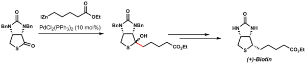 Total synthesis of (+)-biotin using Fukuyama coupling