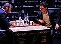 Şəhriyar Məmmədyarov (li.) und Fabiano Caruana, Kandidatenturnier Berlin 2018, 10. Runde.jpg