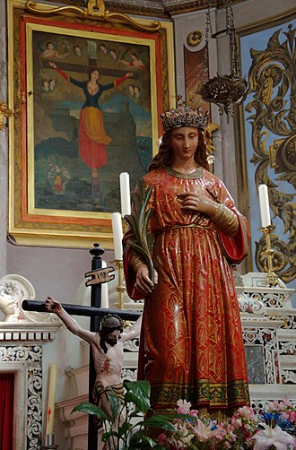 Julia of Corsica - Statue and painting of St. Julia of Corsica in the eponymous church of Nonza