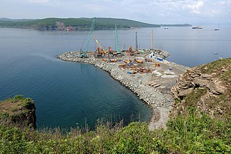 Russky Island - Eastern Bosphorus Strait and construction site of Russki Island Bridge