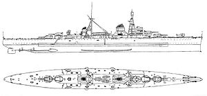 Trento-class cruiser - Line-drawing of the Trento class