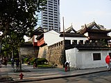The remains of the old city walls of Shanghai