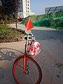 未央 明光路东的西安公共自行车与石子路.jpg