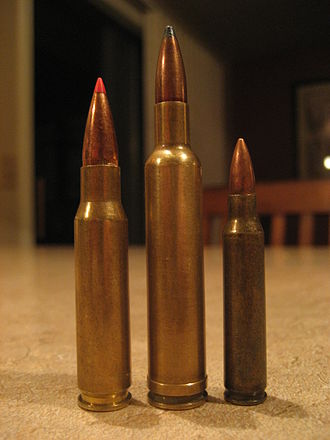 .270 Weatherby Magnum -  .308 Winchester (left) .270 Weatherby Magnum (center) .223 Remington (Right)