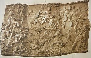 Dacian Draco - Draco is borne by Dacian cavalry crossing the Danube (Trajan's Column)