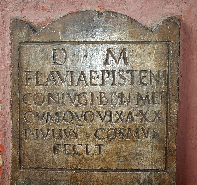 Roman gravestone made by Publius Iulius Cosmus for his wife Flavia