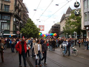 The Gay Pride Parade in Zürich, Switzerland.