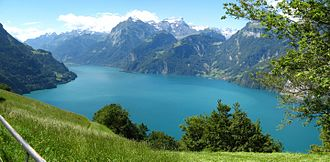 Lake Lucerne - View of the Urnersee from near Morschach in Uri, southwards, with Bauen on the left shore on the right