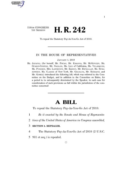 File:116th United States Congress H. R. 0000242 (1st session) - To repeal the Statutory Pay-As-You-Go Act of 2010.pdf