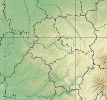 Map of Limousin with mark showing location of Tulle