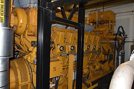Stationary 12 cylinder turbo-diesel engine coupled to a generator set for auxiliary power 12 Cylinder Diesel Engine.jpg