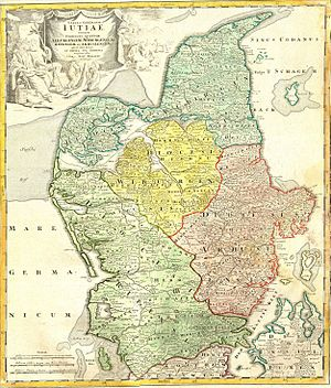 Northern Jutland - 1710 map of Northern Jutland, depicting the borders of the dioceses of Aalborg (in blue), Aarhus (red), Viborg (yellow), and Ribe (green).