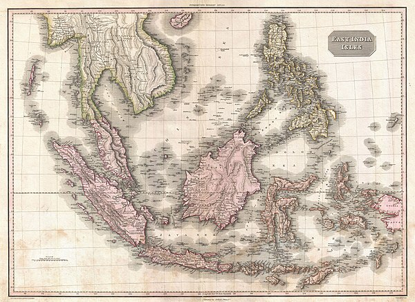 Map of the Dutch East Indies in 1818 1818 Pinkerton Map of the East Indies and Southeast Asia (Singapore, Borneo, Java, Sumatra, Thailand - Geographicus - EastIndiaIslands-pinkerton-1818.jpg