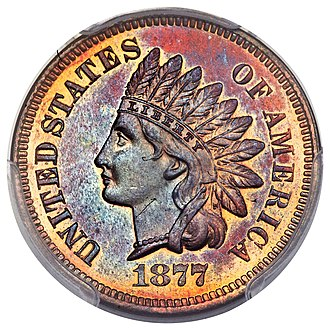 Indian Head cent - The rare 1877 Indian Head cent