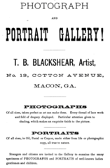 1879 T B Blackshear photographer Macon Georgia USA advert.png
