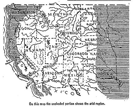 Arid regions of the Western United States as mapped in 1893 1893 Arid regions of the western united states.jpg