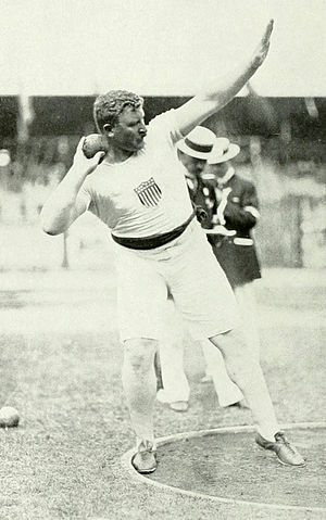 Athletics at the 1912 Summer Olympics – Men's shot put - Pat McDonald on the way to winning the gold medal.
