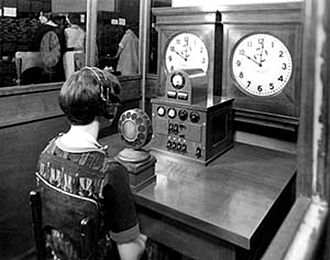 Speaking clock - A human speaking clock prior to the invention of automated equipment, October 1937