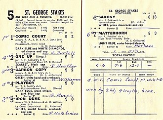 Comic Court - Image: 1951 VATC St George Stakes Racebook P3