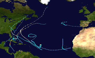 1952 Atlantic hurricane season - Image: 1952 Atlantic hurricane season summary map