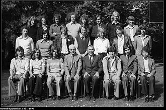 Ross Brawn - Passing out of UKAEA Harwell Apprentices in September 1975. Brawn middle row, second from right