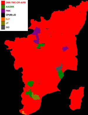 Tamil Nadu Legislative Assembly election, 1996 - Image: 1996 tamil nadu legislative election map