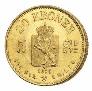 Gold coin - A 20-crown gold coin from Norway. Introduced in 1875, it became part of the Scandinavian Monetary Union, which was based on a gold standard. Norwegian gold reserves included tonnes of this and other coins, backing Norway's paper money. The coin was designed for circulation: '124 Stk. 1 Kil. f. G.' means that 124 pieces gave one kilogramme of pure gold.
